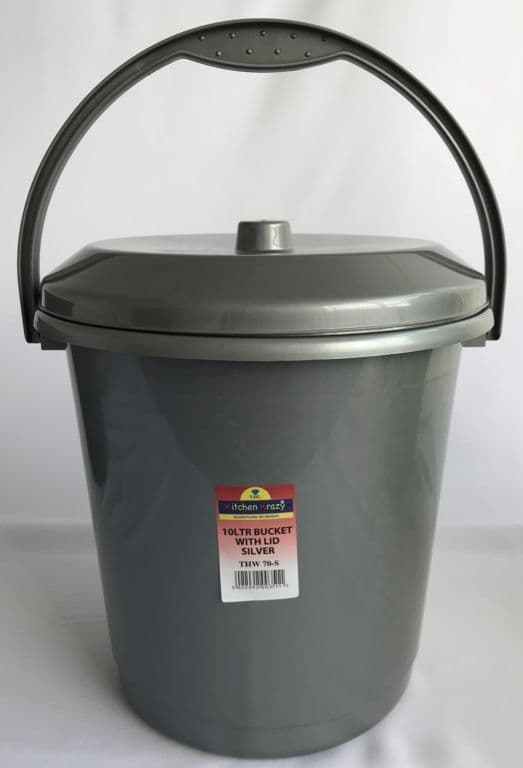 TML Bucket With Lid 10L - Silver